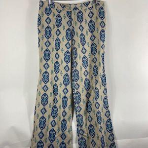 ecru Pants & Jumpsuits - Ecru Women's Damask Crop Pants Blue Green Linen
